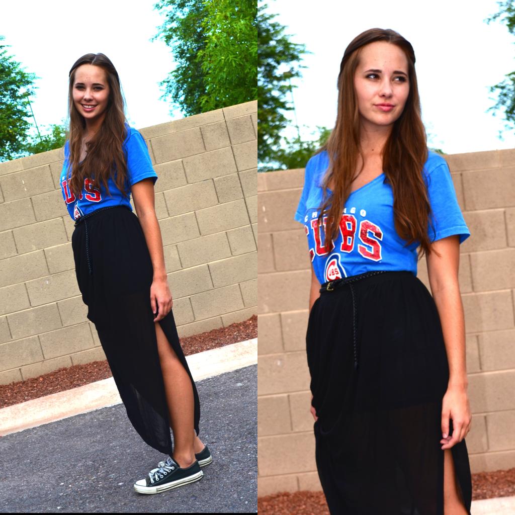 9d84cefa7d FB2. DSC_0577. DSC_0580 Cubs Shirt: Buffalo Exchange, Maxi Skirt: H&M, Black  ...